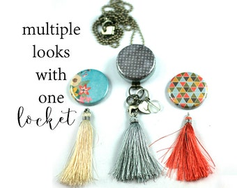 Tassel Necklace | 3 Interchangeable Tassels | Switchable Magnetic Lids | Mirror Locket | Recycled Steel | ANY Stamped Initial, Tassel Locket
