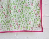 Bright White Pink and Green Echo Pears Scarf / Novelty Spring or Summer Long Head Neck Wrap