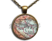 20% OFF - Prague Czech Vintage Map Glass Dome Pendant or with Chain Link Necklace SM124