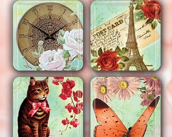 """60% OFF CLEARANCE Sweet Memories - Set of 4 Glass Tile Magnets 1"""" square FANT103"""