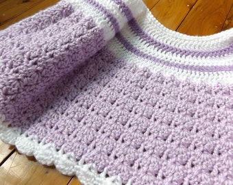White and lilac crochet baby cardigan, to fit approx. 3 months