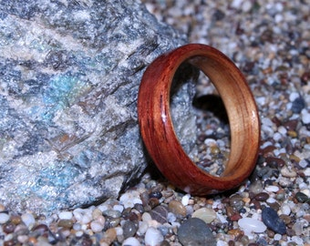 Bubinga Wood Ring with Canarywood Liner (In Stock Size 10.75; 6mm wide - Other sizes available upon request) // Wood Anniversary Ring