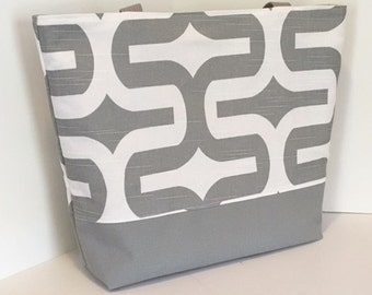 Beach Bag Tote . EMBRACE Gray and White . standard size . bridesmaid gift teachers tote MONOGRAMMING Available