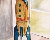 Space Patrol rocket ship Tom Corbett vintage toy ORIGINAL watercolor painting by Redstreake