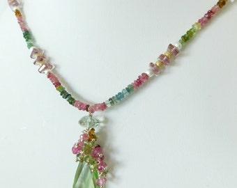 Watermelon Tourmaline Necklace - Green Amethyst Necklace - Pink Necklace - Statement Necklace