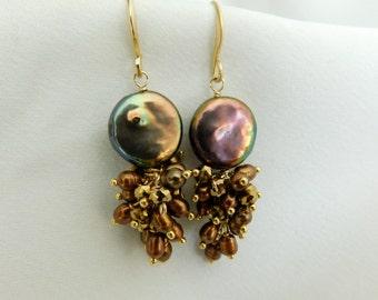Pearl Earrings - Brown Earrings - Statement Earrings - Everyday Earrings - Purple Earrings
