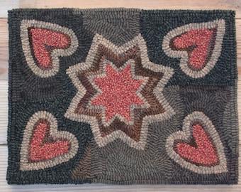 Vintage Hearts Primitive Hooked Rug