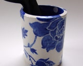 Delft Blue floral pottery kitchen Utensil Holder  :) home decor ceramic hand painted flower vase w/ indigo blue & white