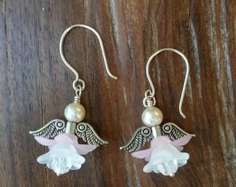 Handcrafted Silver Angel Light Pink Flower Earrings