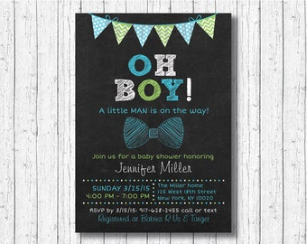 Bow Tie Chalkboard Baby Shower Invitation / Bow Tie Invitation / Little Man Invitation / Oh Boy / Baby Boy / PRINTABLE