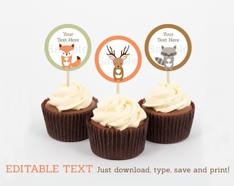Woodland Forest Animal Cupcake Toppers / Party Favor Tags / Party Circles INSTANT DOWNLOAD Editable PDF
