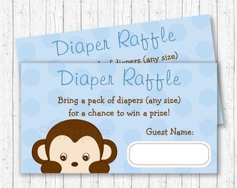 Cute Monkey Diaper Raffle Tickets / Monkey Baby Shower / Blue Monkey / Boy Monkey / Baby Boy Shower / INSTANT DOWNLOAD