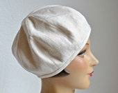 Linen Beret in Cream Linen - Women's Beret Hat - Cream Linen Beret- Made to Order