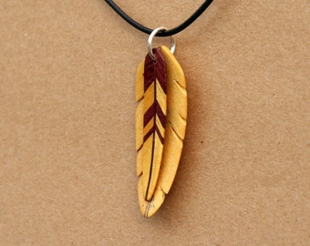 Handcarved Yellowheart and Purpleheart Wood Double Leaf / Feather Pendant  J160201