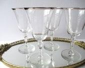Vintage Silver Trimmed Wine Glasses Set of Four - Regal Style