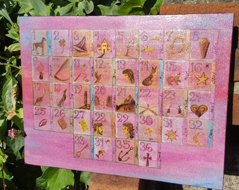 Metallic Colored Lenormand Casting Board Handpainted by Beth Seilonen 12 by 16 inches