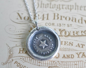 star wax seal necklace pendant … she guides me well - French motto - guidance, truth, hope - gift - fine silver antique wax seal jewelry
