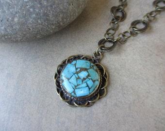 Turquoise Necklace, Brass, Inlaid Turquoise, Round Pendant, Blue Gemstone Necklace, Bohemian, Boho Chic, Irisjewelrydesign