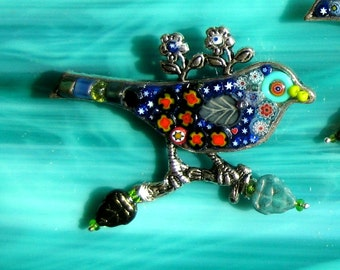 Bird Brooch. Brooch. Brooch out of Millefiori. One of a Kind Brooch. Bird Pin. Lapel Brooch. Lapel Pin. Fun Bird Brooch. Festive Bird Pin.