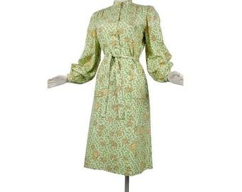 SALE Vintage 70s Dress - Novelty Print Dress - Turtles - Silk Dress - Shirtwaist Dress - Green Yellow - Casi - 70s Shirtwaist - Head Scarf -