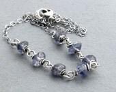Iolite Necklace, Violet Blue Gemstone Jewelry, Sterling Silver, #4586