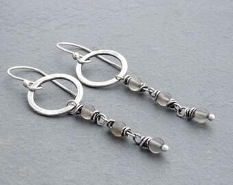 Gray Moonstone Earrings, Gray Gemstones, Circle Dangle Earring, Moonstone Dangle Earrings, Hammered Circle, June Birthday, Silver, #4681