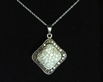 chocolate and white diamond round pave set lucky clover shamrock cross pendant necklace charm