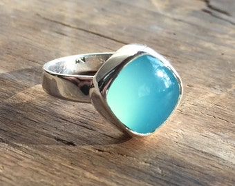 Simple sterling ring with aqua blue chalcedony cabochon size 6 ready to ship