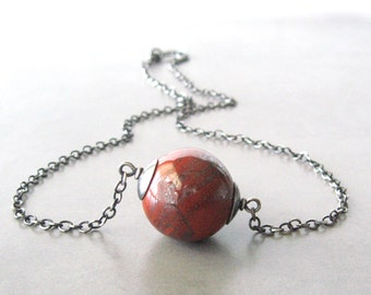 red stone necklace, red jasper and silver pendant necklace, minimalist necklace, modern silver necklace