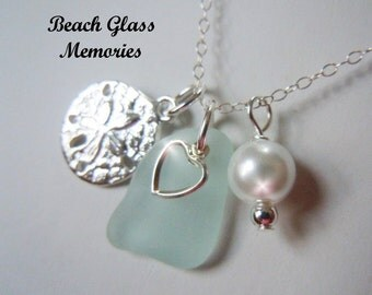 Sea Glass Necklace Personalized Necklace Aqua Beach Glass Necklace Sand Dollar Seaglass Jewelry Charm Necklace