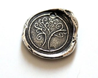 Tree Wax Seal Style Sterling Silver Charm