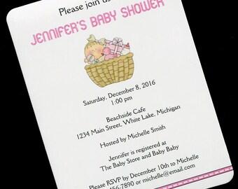Baby Shower Invitations - Baby Girl Shower Invitations - Personalized Baby Shower Invitations - Baby Girl In Basket - Set of 20