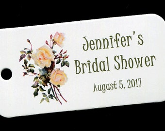 Personalized Bridal Shower Tag - Personalized Tag - Favor Tag - Gift Tag - Personalized Favor Tags - Thank You Tag - Roses - Floral 9