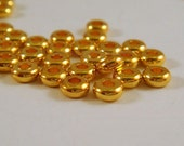 50 Gold Spacer Bead 4x1.9mm Heishi Gold Plated Brass - 50 pc - 5918-7
