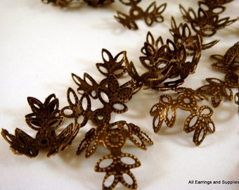 25 Antique Brass Bead Caps Beads Wraps Iron 15mm - 25 pc - F4044BC-AB25