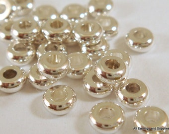 50 Silver Spacer Bead 4x1.9mm Silver Plated Brass Disk - 50 pc - 5919-7