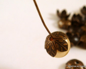 20 Flower Bead Cap Antique Brass 9x4mm - 20 pc - 5917-11