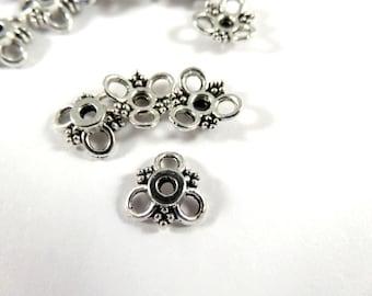 25 Antique Silver Flower Bead Caps Tibetan Style LF/CF 10x10x3mm Hole 2mm - 25 pc - F4187BC-AS25