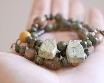SALES . Jasper necklace. Jasper necklace with sterling silver clasp. Jasper beads, Gemstone necklace, green necklace beads, boho necklace.