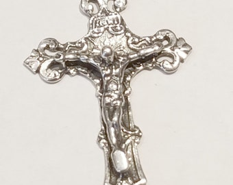 Circled Filigree Crucifix Pendant Sterling Silver, stamped 925, crucifix, Cross, Pendant, or Charm