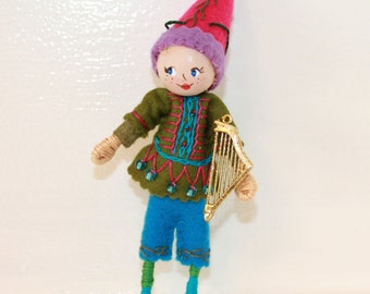 Felt Art Dolls Boy Playing Guitar, Handmade bendy dolls with painted faces