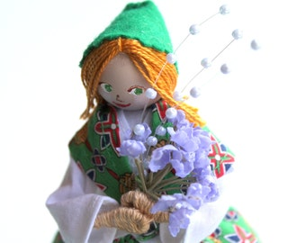 Handmade cloth doll, Lady dressed in yellow holding lavender flowers