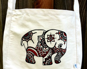 INTRODUCTORY SPECIAL PRICING - Elephant Organic Cotton Roomy with Tablet Pocket Crossbody Bag Totem Animal Patience Strength Tenacity