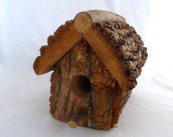 """Rustic Bark Birdhouse - 6"""" x 6"""" x 9"""" bark and wood birdhouse with twig perch 1"""" opening, indoor/outdoor rustic decor, home decor,"""