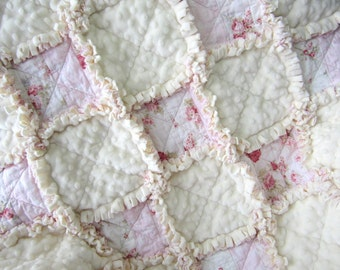 "Rose Baby Blanket, 29"" x 34"", Baby Rag Quilt,  Minky Baby Girl Blanket, Cottage Chic Decor, Flannel Baby Quilt, Cream Baby Bedding"