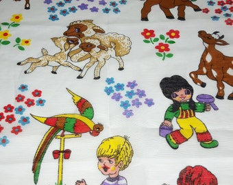 "SALE vintage 70s cotton fabric, featuring super-cute large children and animals print, 47"" x 27"""