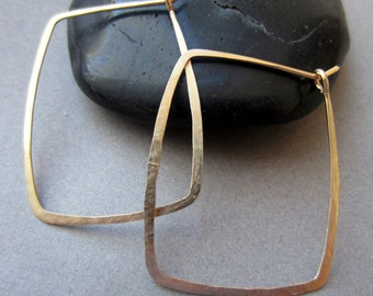 14k gold fill Rectangle Hoop earrings READY TO SHIP