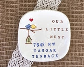 Personalized Housewarming Gift, Our Little Nest Ceramic Gift Dish, New Home Gift, Realtor Gift, Ring Dish, Home Decor