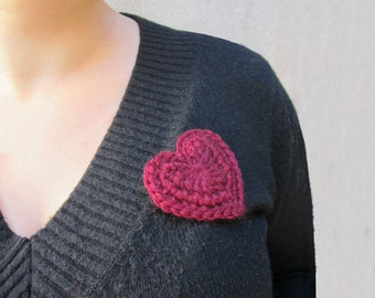 Heart brooch,crochet heart brooch,crochet brooch,fiber heart brooch,romantic brooch,wool heart brooch,Valentine's day gift for her