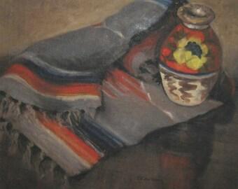 southwestern oil painting . southwestern stil life . blanket and vase stil life . southwestern painting . Clara Noke Thomas Mac Kannan